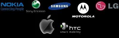 Nokia, Sony-Ericsson, Samsung, Motorola, LG, Apple, HTC